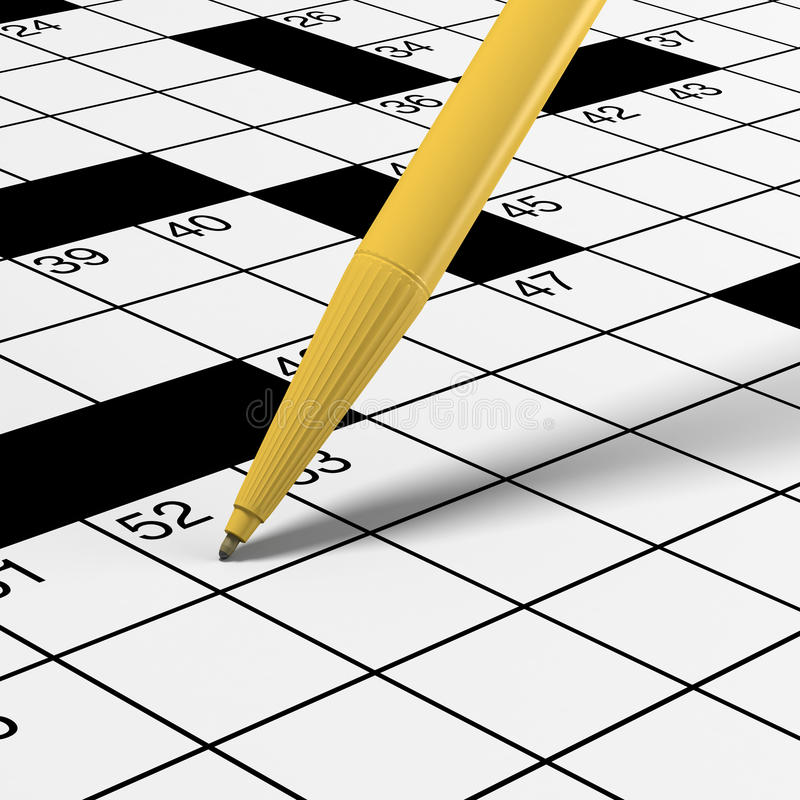 Download Close Up Of Crossword Puzzle With Pen Stock Illustration - Illustration: 18790060