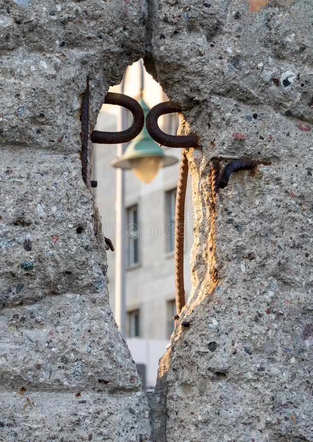 Close up of the crumbling remains of the Berlin Wall at the Wall Memorial, Germany. Segments of wall have been left as a reminder stock images