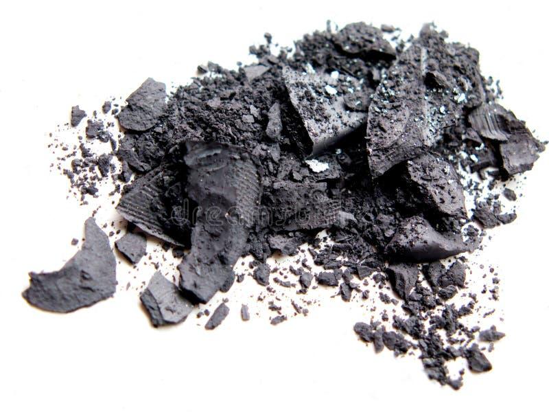 Close up of crushed eyeshadow cosmetic powder. On white background stock photography