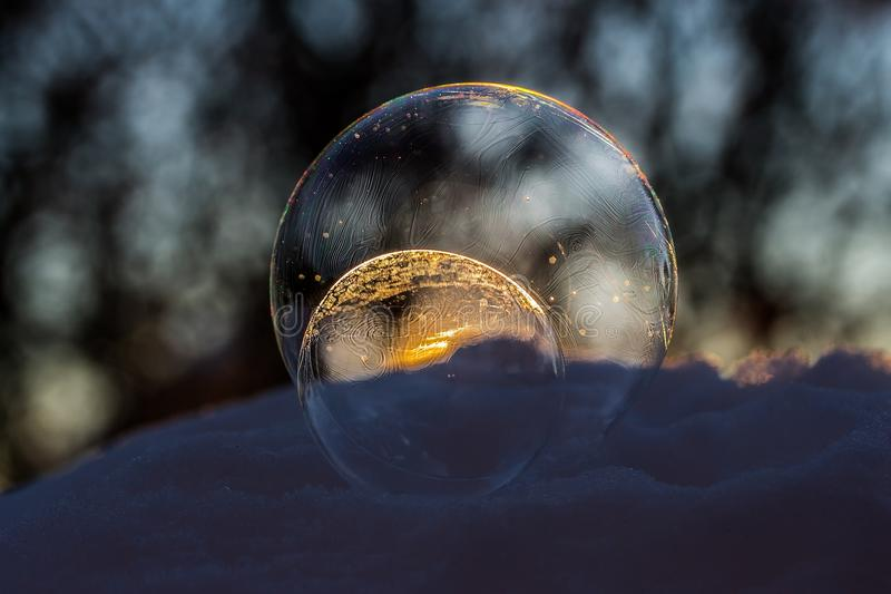 Close-up of Crystal Ball Against Blurred Background stock image