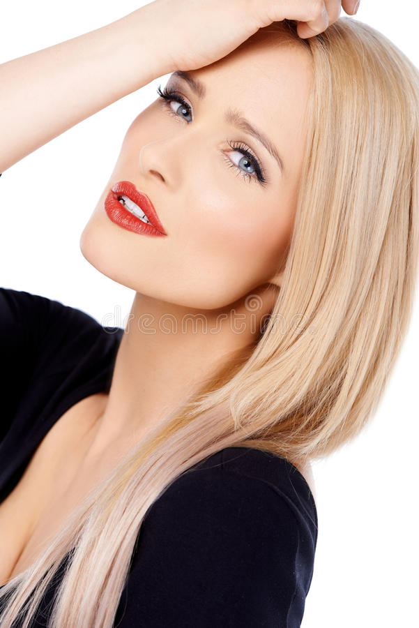 Close up of cute blond woman stock photos