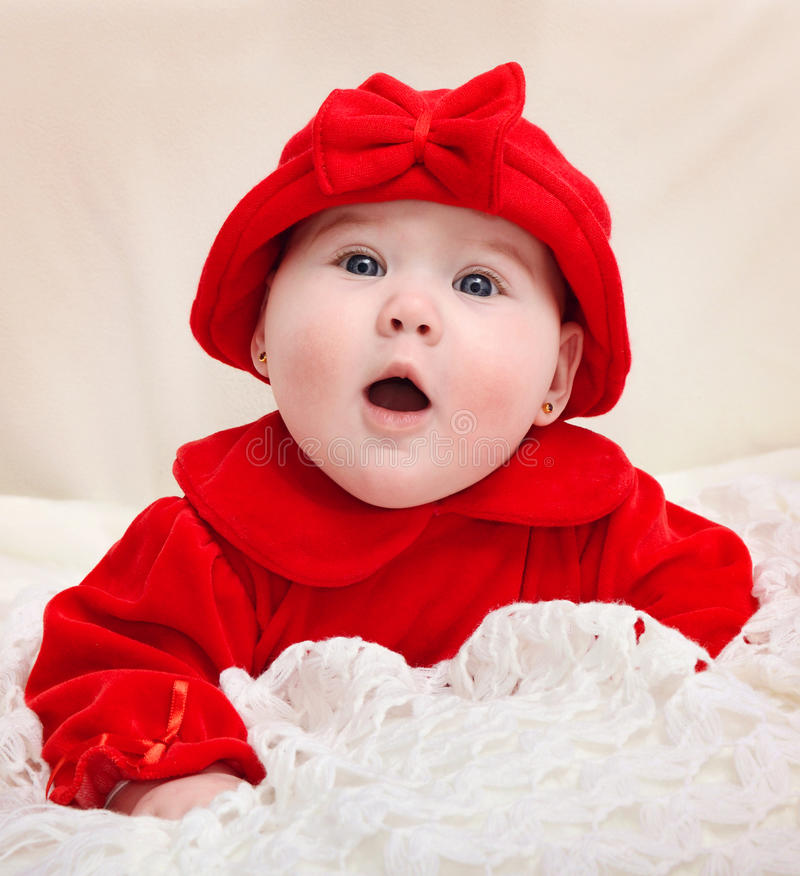 Close-up of cute little baby girl royalty free stock photography