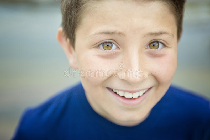 Close up of a cute 8 year old boy stock images