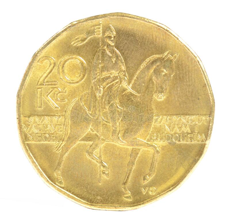 Close-up of czech twenty crown coin with St Wenceslas figure. On horse royalty free stock photo