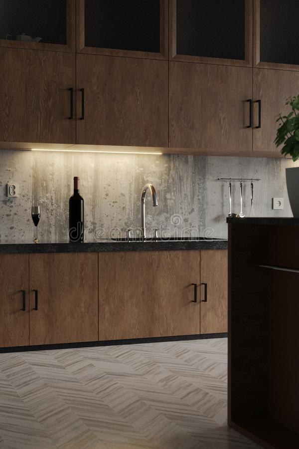 Close up of 3d rendering of modern kitchen with hardwood cabinets and concrete wall stock photography