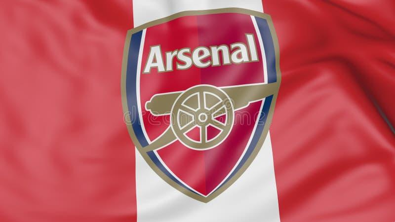 Close-up da bandeira de ondulação com arsenal F C Logotipo do clube do futebol ilustração stock