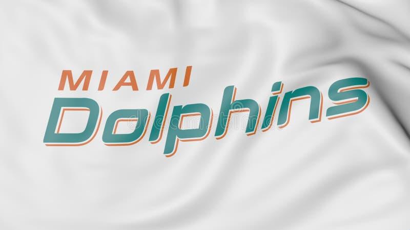 Close-up da bandeira de ondulação com logotipo americano da equipa de futebol do NFL dos Miami Dolphins, rendição 3D ilustração stock