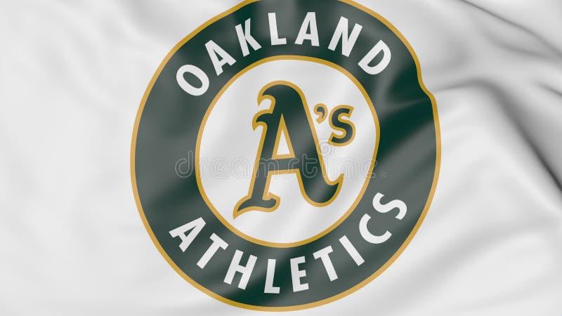 Close-up da bandeira de ondulação com logotipo da equipa de beisebol dos Oakland Athletics MLB, rendição 3D ilustração royalty free