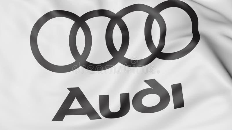 Close-up da bandeira de ondulação com logotipo de Audi, rendição 3D editorial ilustração do vetor