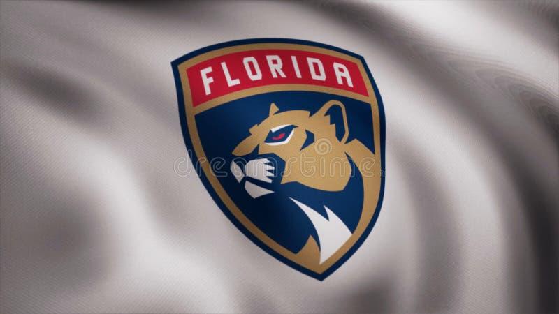 Close-up da bandeira de ondulação com logotipo da equipa de hóquei do NHL das panteras de Florida, laço sem emenda Animação edito ilustração royalty free