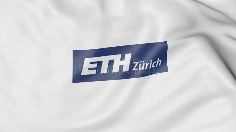Close-up da bandeira de ondulação com rendição federal suíça do emblema 3D de Zurique do Instituto de Tecnologia ilustração do vetor