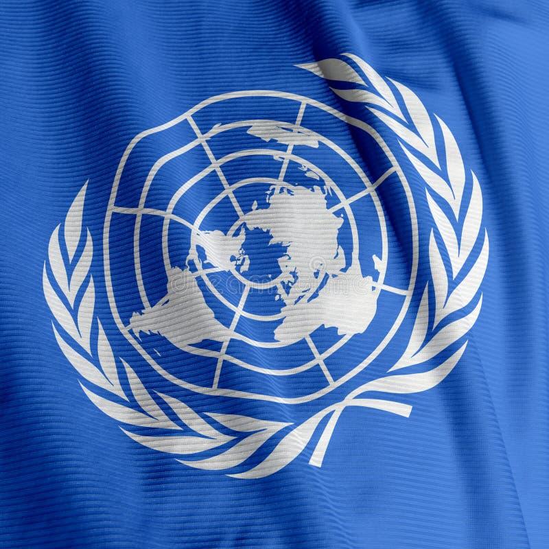 Close up da bandeira de United Nations foto de stock