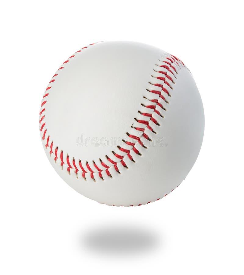 Close-up da bola do basebol em um fundo branco fotografia de stock