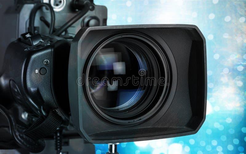 Close-up da câmara de vídeo preta fotografia de stock royalty free