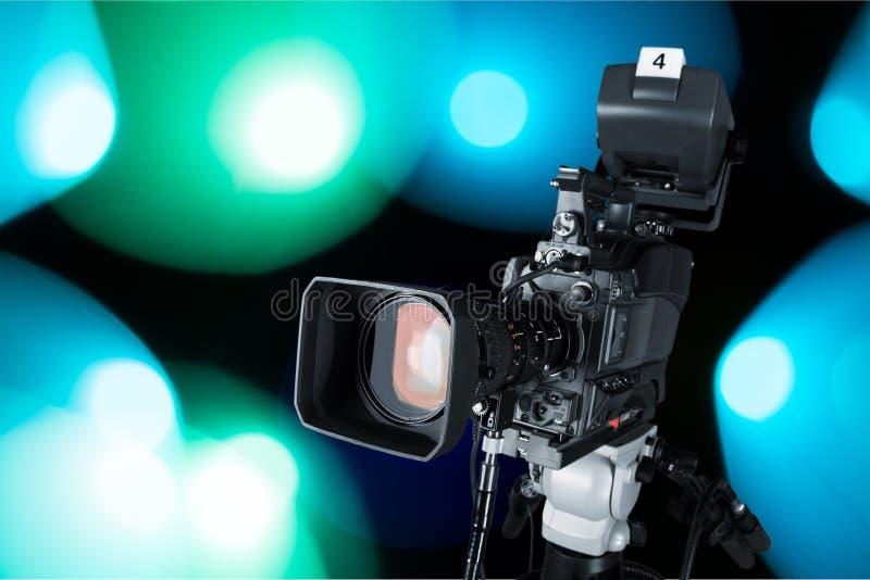 Close-up da câmara de vídeo preta fotografia de stock