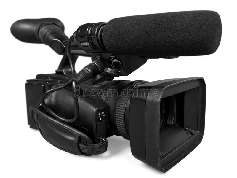Close-up da câmara de vídeo preta imagem de stock