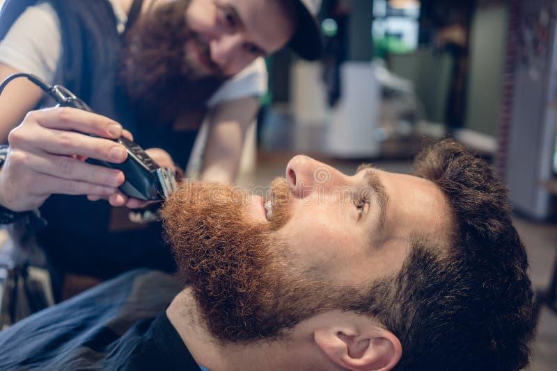 Close-up da cabeça de um homem e da mão de um aparamento do barbeiro imagem de stock royalty free