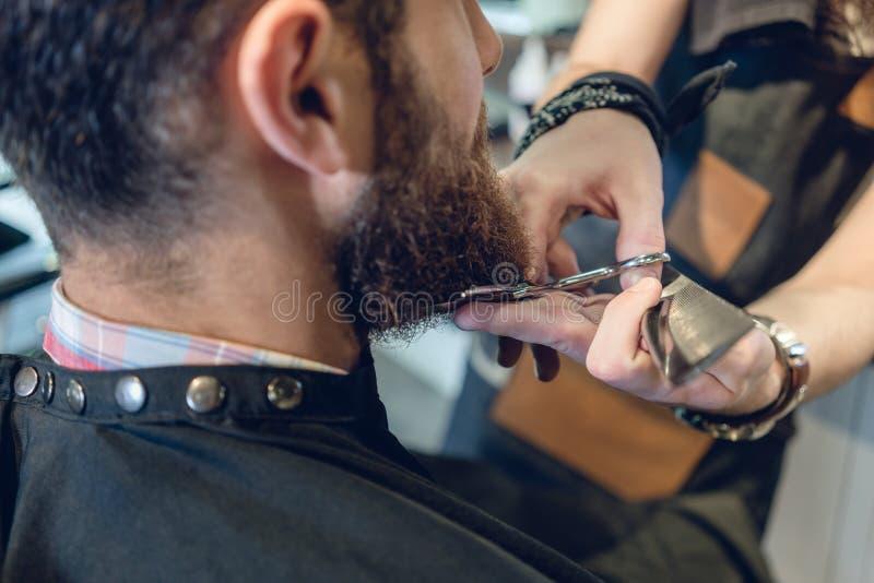 Close-up da cabeça de um homem novo e das mãos de um barbeiro imagem de stock royalty free