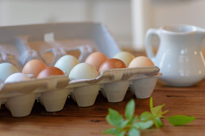 Close up da caixa de ovos frescos da exploração agrícola orgânica no tabl de madeira rústico fotografia de stock royalty free