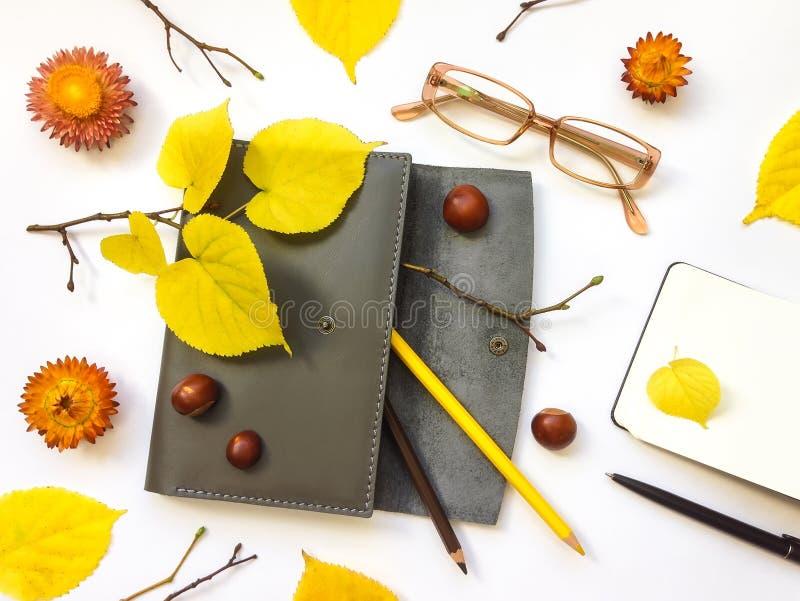 Close up da caixa, do caderno e dos vidros de couro da pena no fundo branco Decoração do outono Vista superior, configuração lisa foto de stock