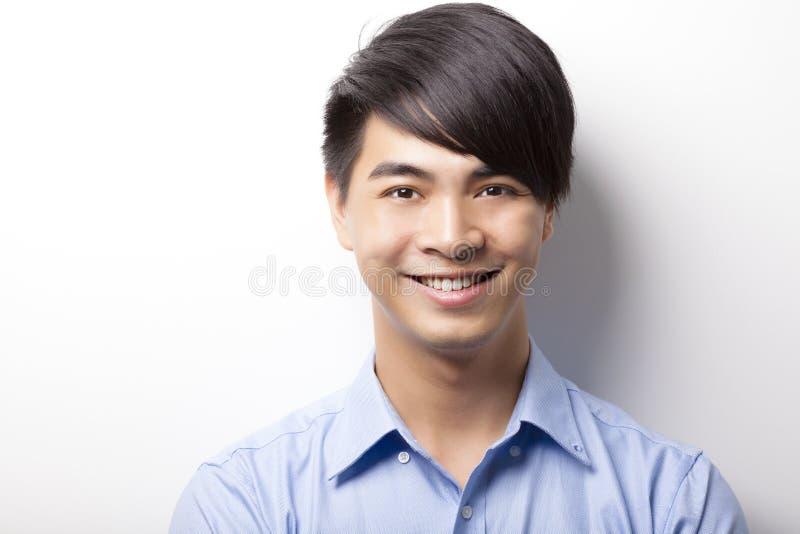Close up da cara do homem de negócios com fundo branco imagem de stock royalty free