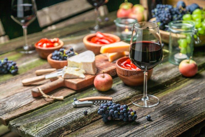 Close up da ceia com aperitivos e vinho fotografia de stock