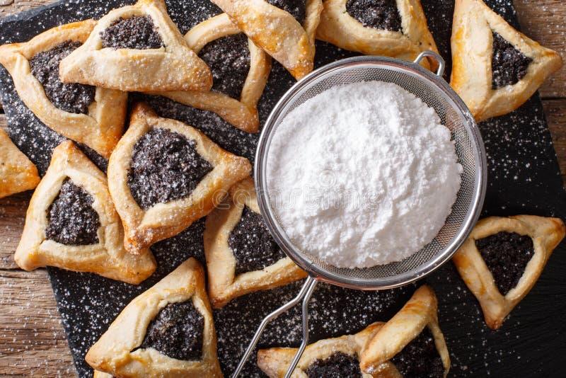 Close up da celebração de Purim das cookies de Hamantaschen ou das orelhas dos hamans H fotografia de stock royalty free