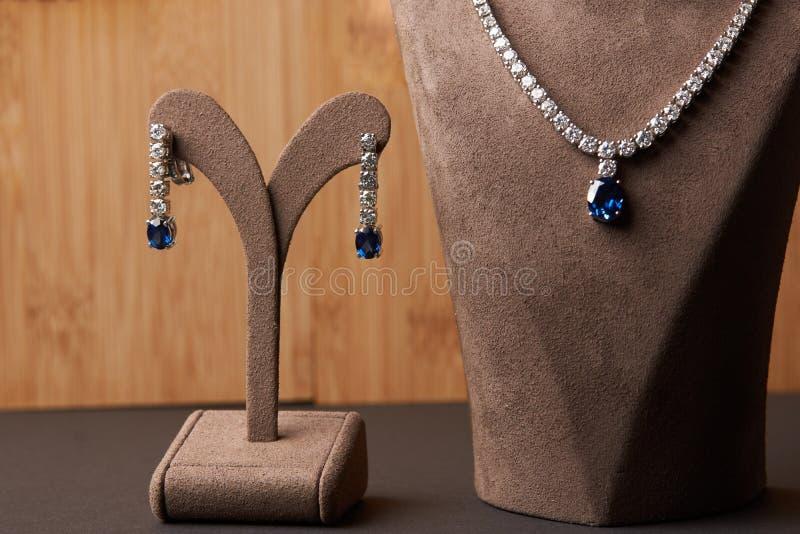 Close-up da colar e dos brincos da platina do ` s das mulheres imagens de stock royalty free