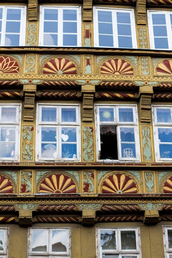 Close up da construção a mais velha em Hannover do centro, Alemanha imagem de stock