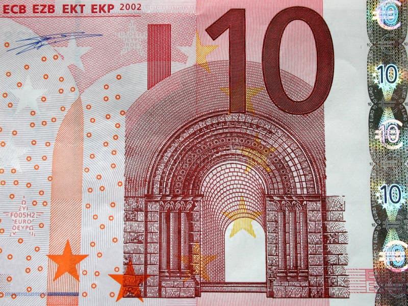 Close-up da conta de 10 euro, detalhe foto de stock