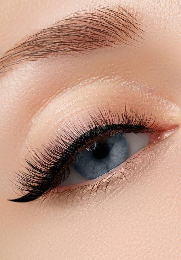 Close-up da elegância do olho fêmea bonito com sombra da forma foto de stock royalty free