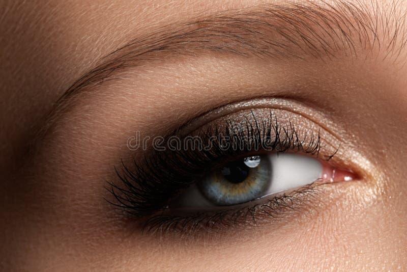 Close-up da elegância do olho fêmea com marrom escuro clássico miliampère fumarento foto de stock