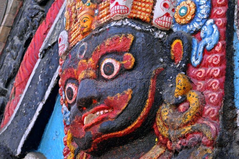 Close up da estátua da deidade hindu Bhairab fotografia de stock royalty free