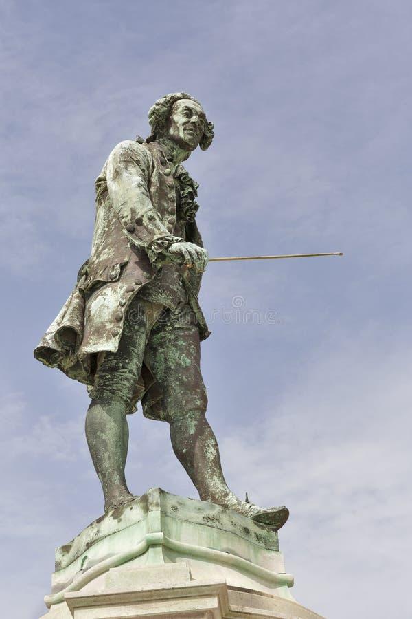 Close up da estátua de Giuseppe Tartini em Piran, Eslovênia imagem de stock