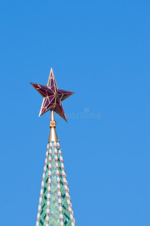 Estrela na torre de Moscovo Kremlin fotografia de stock