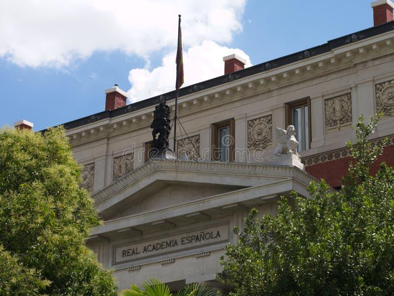 Close-up da fachada neoclássico da academia espanhola real foto de stock royalty free