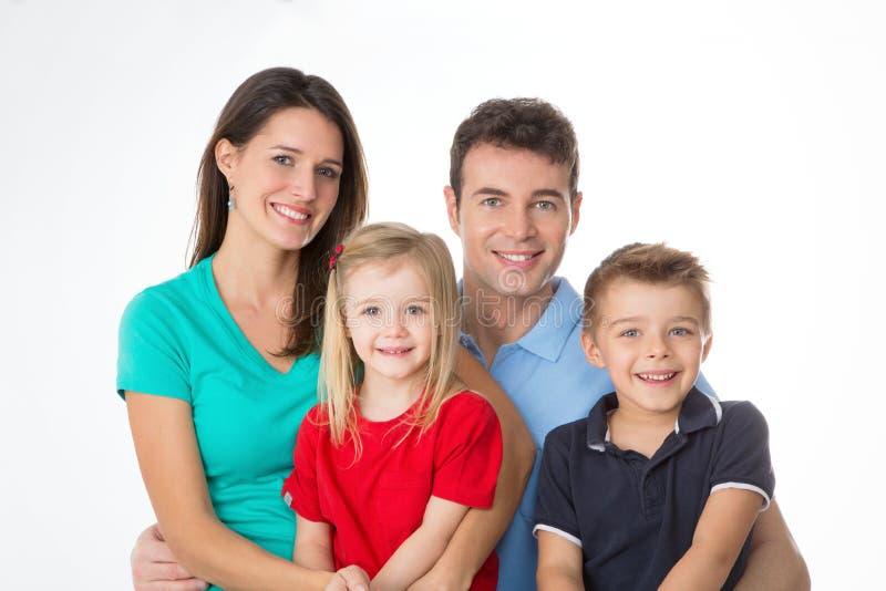 Close up da família no fundo branco fotos de stock