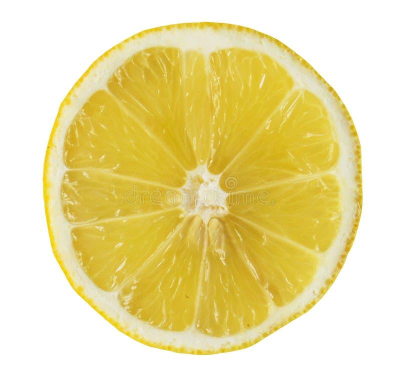 Close up da fatia amarela suculenta de limão, fundo branco, isolat fotos de stock royalty free