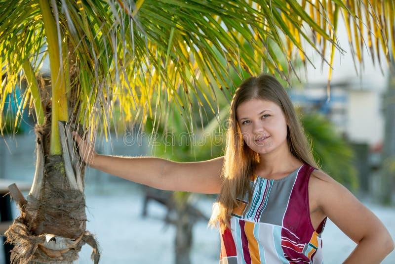 Close-up da jovem mulher sensual com palmeiras fotos de stock royalty free