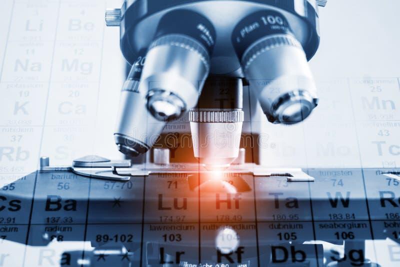 Close up da lente do microscópio conceito da investigação e desenvolvimento do laboratório de ciência fotografia de stock