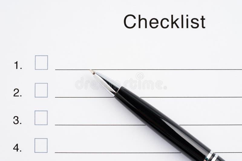 Close-up da lista de verificação imagem de stock royalty free