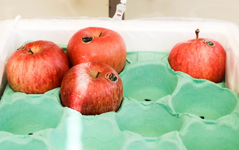 Close up da maçã do mel de quatro vermelhos em Japão imagem de stock