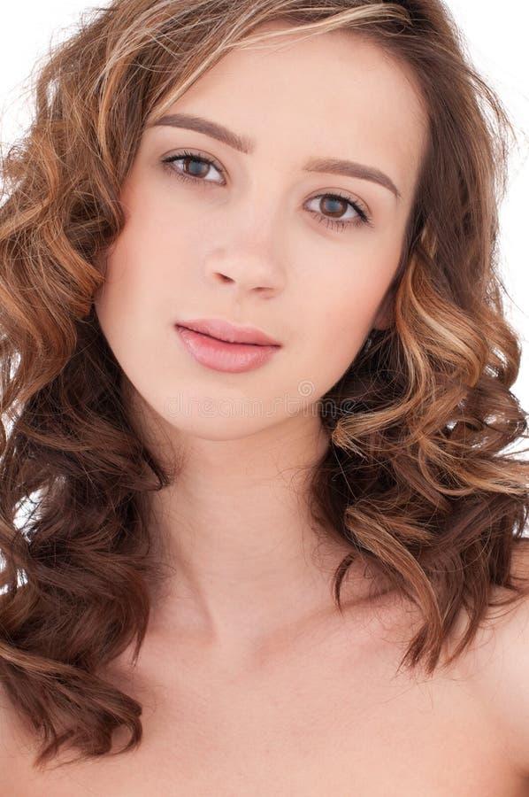 Close-up da menina bonita com maekeup desobstruído fotografia de stock royalty free