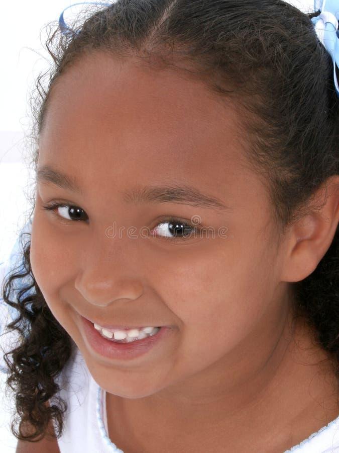 Close-up da menina bonita dos anos de idade seis imagem de stock