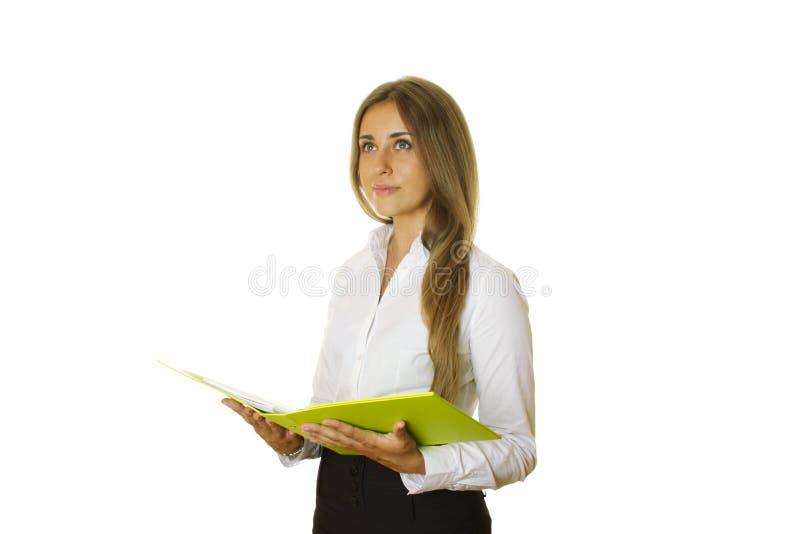 Close-up da mulher de negócio com dobrador fotografia de stock royalty free