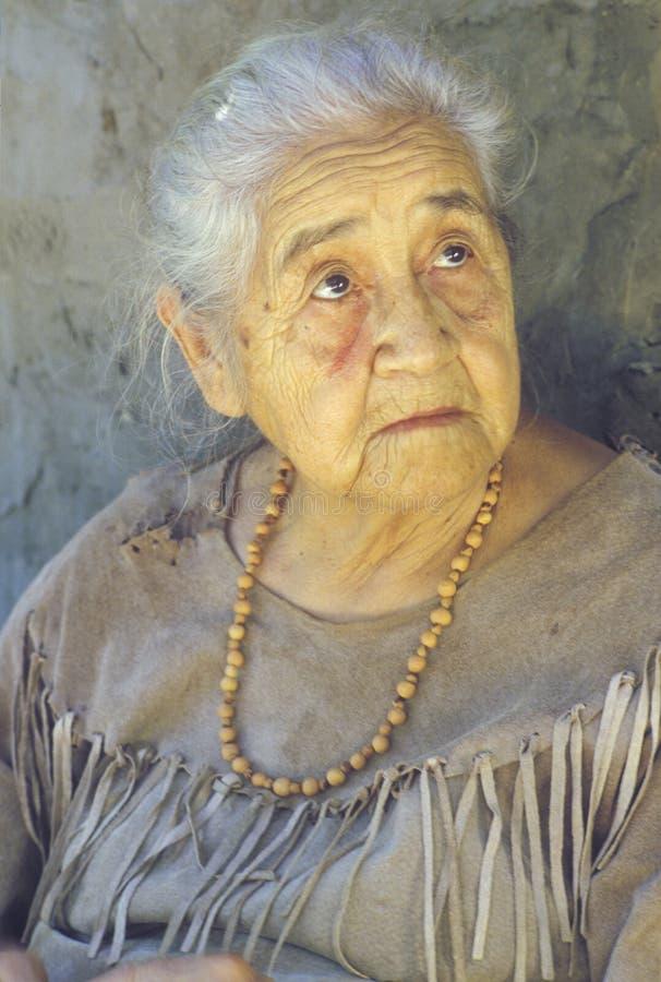 Close-up da mulher idosa do nativo americano foto de stock royalty free