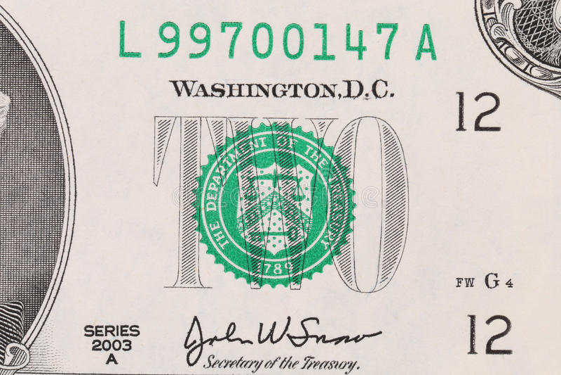 Close up da nota de dólar dois. fotografia de stock royalty free