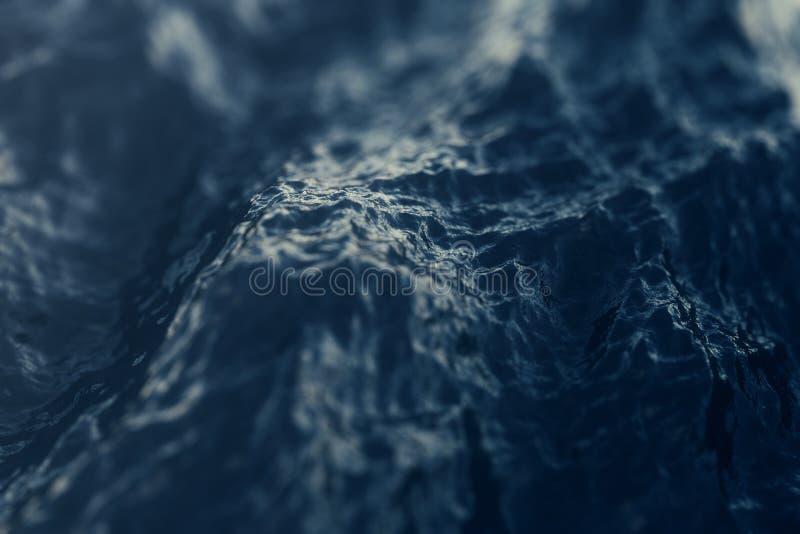Close-up da onda do mar, opinião de baixo ângulo com efeitos do bokeh rendição 3d fotografia de stock royalty free