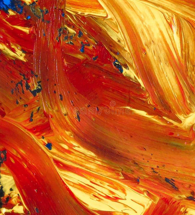 Close up da pintura a óleo abstrata de alaranjado e de azul na lona, fundo das cores, borrões, fogo, lava vulcânica imagens de stock royalty free