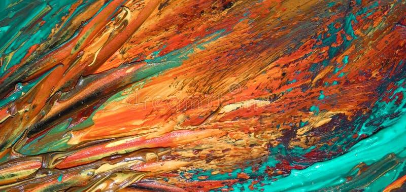 Close up da pintura a óleo abstrata da laranja e da água-marinha na lona, fundo das cores, borrões, fogo